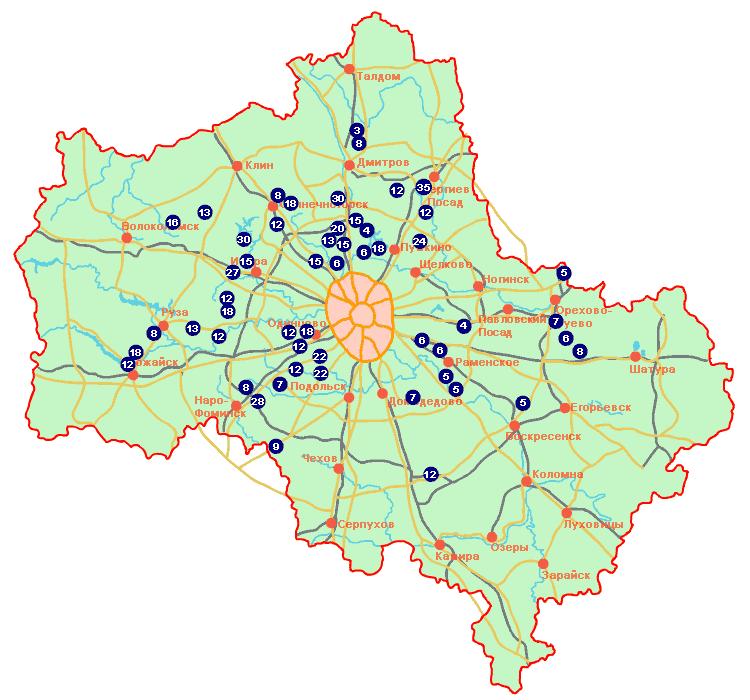 карта глубины колодцев в Подмосковье